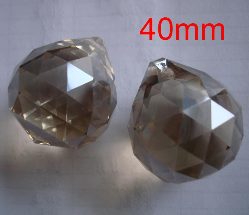 Free shipping 40pcs/lot , 40mm Cognac color crystal chandelier ball and crystal lighting ball for curtain pendant