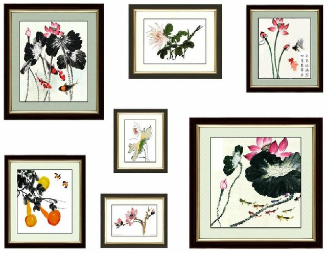 Classical Noble And Elegant Ink Lotus Cross Stitch Seven Pieces Unfinished Handmade Cross Stitch Kits + free shipping