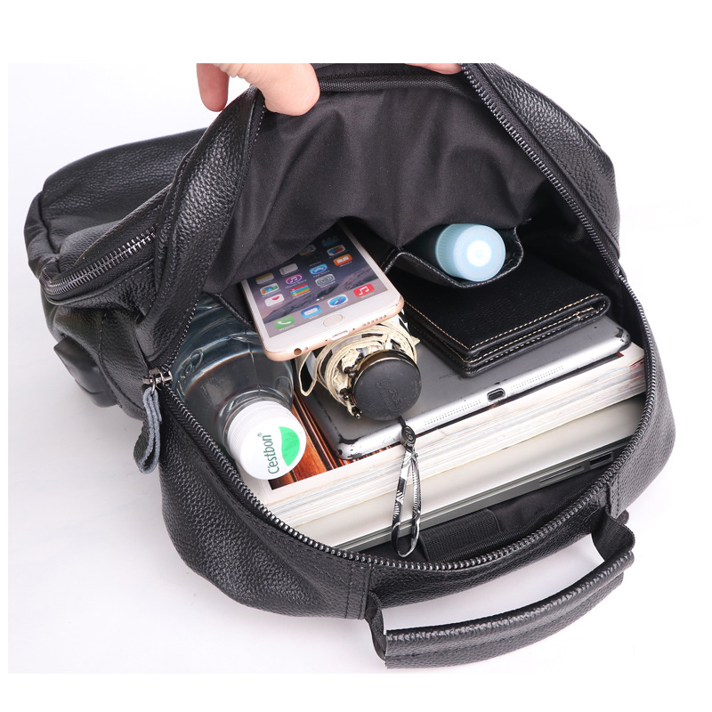 Luxe Koe Lederen Grote Capaciteit Rugzak Reistas mannen Casual Minimalistische Computer Bag Volnerf buiten echt leer - 5