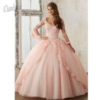 Blush Pink Quinceanera Dresses Sweet 16 Dress Tulle Skirt Long Teen Girls Pageant Dress 2019 Vestidos de 15 anos