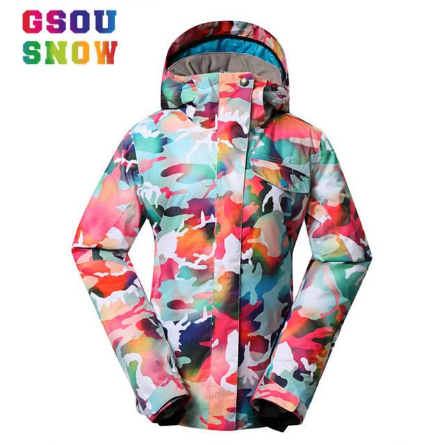 5054b76bfd Online Shop Super Quality Gsou Snow Ski Jacket Women Winter Waterproof  Windproof Colorful Camo Snowboard Jackets Cheap Female Ski Snow Coats