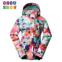 Super Quality Gsou Snow Ski Jacket Women Winter Waterproof Windproof Colorful Camo Snowboard Jackets Cheap Female Ski Snow Coats