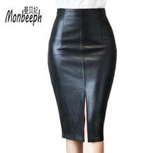 Monbeeph primavera otoño faldas PU cuero Sexy Split alta cintura falda  mujeres elegante rodilla longitud falda negro más tamaño . 1582c6fb1bc0