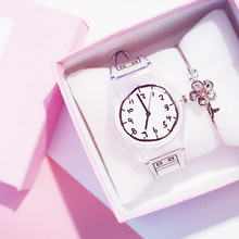 Girls watch female middle school students cute simple girl small fresh wild Japanese pink college wind korean version of the simple art of retro wild small fresh couple college wind female students watch female girlfriends a pair