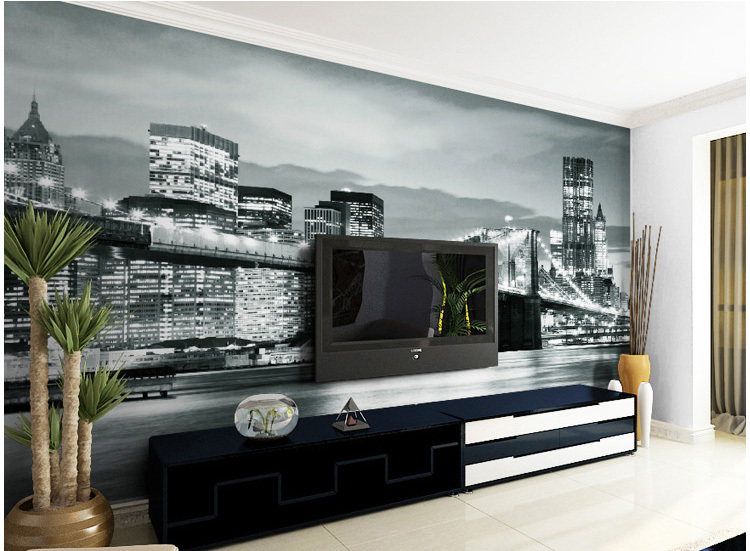 Black and white city bedroom wallpaper rhydo backdrop wallpaper picture more detailed about custom voltagebd Gallery