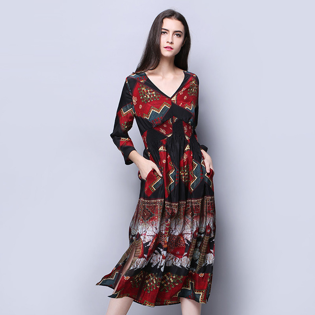 100% Silk Crepe Dress Bohemian Spring Style New Desigual Fashion Printed  Pattern V Neck b50cddcc2aa5