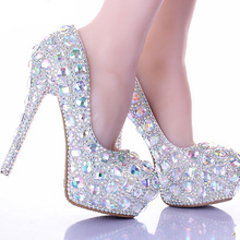 Silver AB Crystal Diamond Exquisite Wedding Shoes Sparkling Rhinestone Bridal Shoes Evening Prom Party Women Pumps