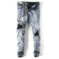 Gersri Men's Ripped Biker Destroyed Distressed Stretch Slim Fit Vintage Washed Elastic Jeans with Zipper Fashion jeans male
