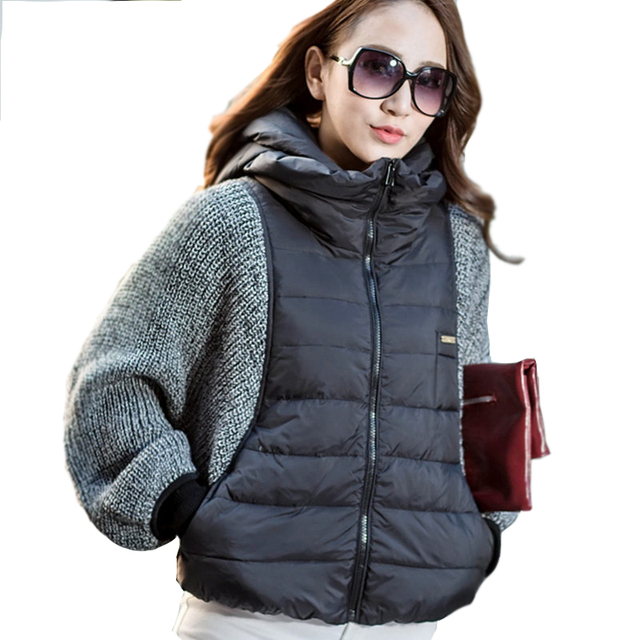 2017 Hot Sale New Fashion Women's Winter Coat Jacket Sleeve Wool Knit Splicing Bat Sleeve Cape Short Female Jacket B731