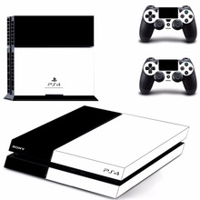 Pure White Black Color PS4 Skin Sticker Decal For Sony PlayStation 4 Console and 2 Controllers PS4 Skins Sticker Vinyl Accessory
