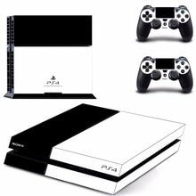 Reine Weiß Schwarz Farbe PS4 Haut Aufkleber Aufkleber Für Sony PlayStation 4 Konsole und 2 Controller PS4 Skins Aufkleber Vinyl zubehör