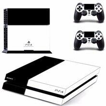 Saf beyaz siyah renk PS4 cilt Sticker çıkartma için Sony PlayStation 4 konsolu ve 2 kontrolörleri için PS4 Skins Sticker vinil aksesuar