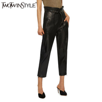 TWOTWINSTYLE Trousers For Women PU Leather Female Pants Ruffle Lace Up High Waist Fashion Clothes Large
