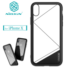 Nilkin for iPhone X Case Nillkin Tempered Glass Back+Soft TPU Border+Hard PC Clear Phone Protective Cover for Apple iPhone X