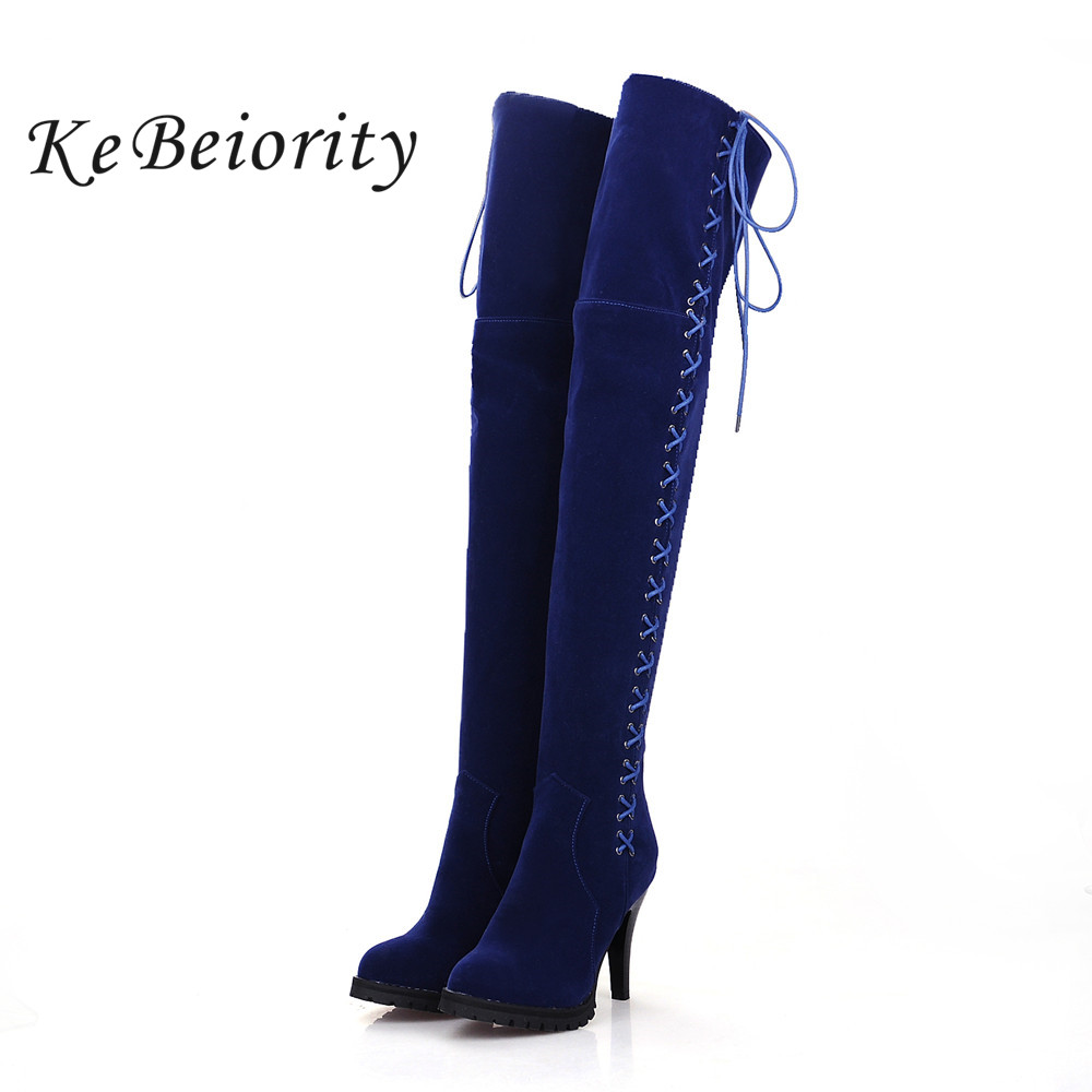 KEBEIORITY Sexy Thigh High Boots Women Spring Autumn Lace Up High Heels Stretch Boots Shoes Fashion Over the Knee Long Boots high quality genuine leather women shoes spring and autumn high heels women boots hollow out lace ladies fashion boots