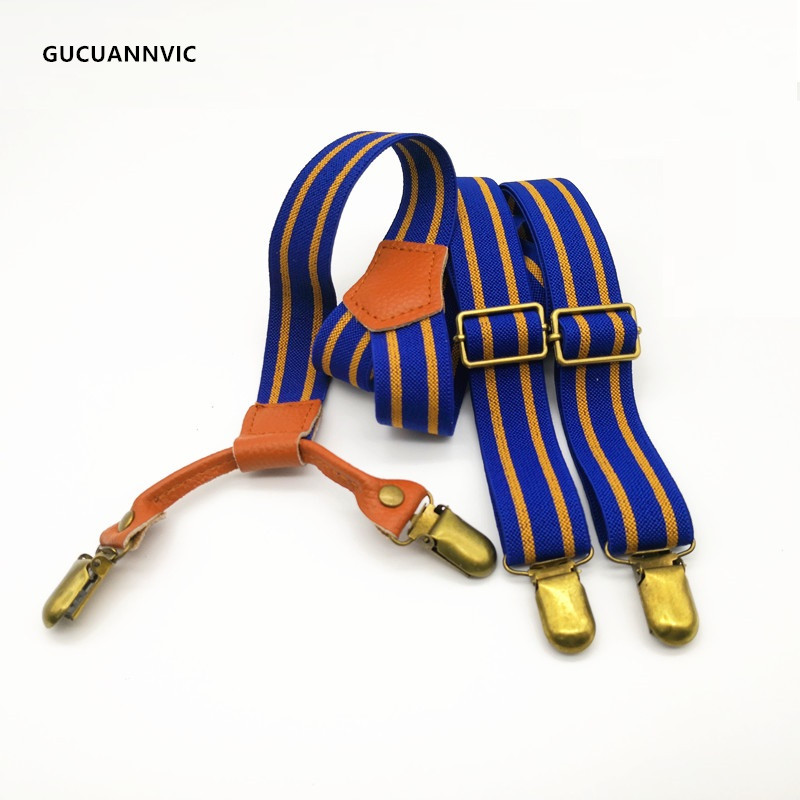 High Quality Fashion Blue Double Stripe Vintage Suspenders Men 4 Clips Bronze Clip Braces Women Adjustable 2.5cm