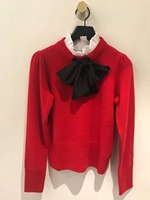 France style elegant ruffled sweaters Women 2018 Fall winter high quality bowtie red pullovers sweater tops D464
