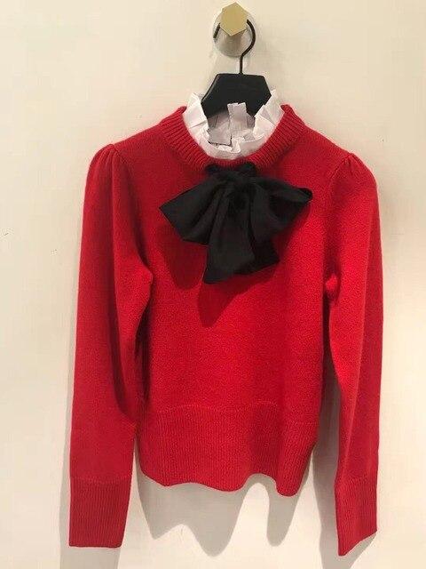 Pháp phong cách thanh lịch xù áo len Phụ Nữ 2018 Mùa Thu mùa đông chất lượng cao bowtie chui đầu màu đỏ áo len áo D464