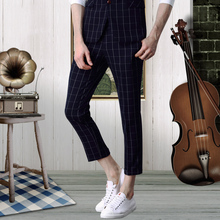 Pre Sale Men Dress Pants Slim Fit Formal Wedding Groom Ankle-knee Pant Plaid Fashion Business Thin Casual Suits Trousers