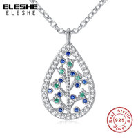 Fashion 925 Sterling Silver Austrian Crystal Family Tree Of Life Pendants Necklaces For Women Genuine Silver