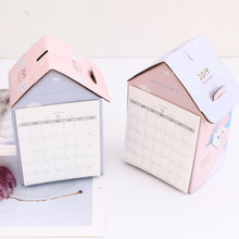 1 Pcs Kawaii Unicorn Folding House 2019 Desk Calendar Korean Stationery Multi-function for Desktop Calendar Stationery