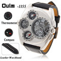 OULM Brand Men's Sports watches Multi-Function Double Movt Quartz Wrist Watch with Leather Watchband for Male Militray watches