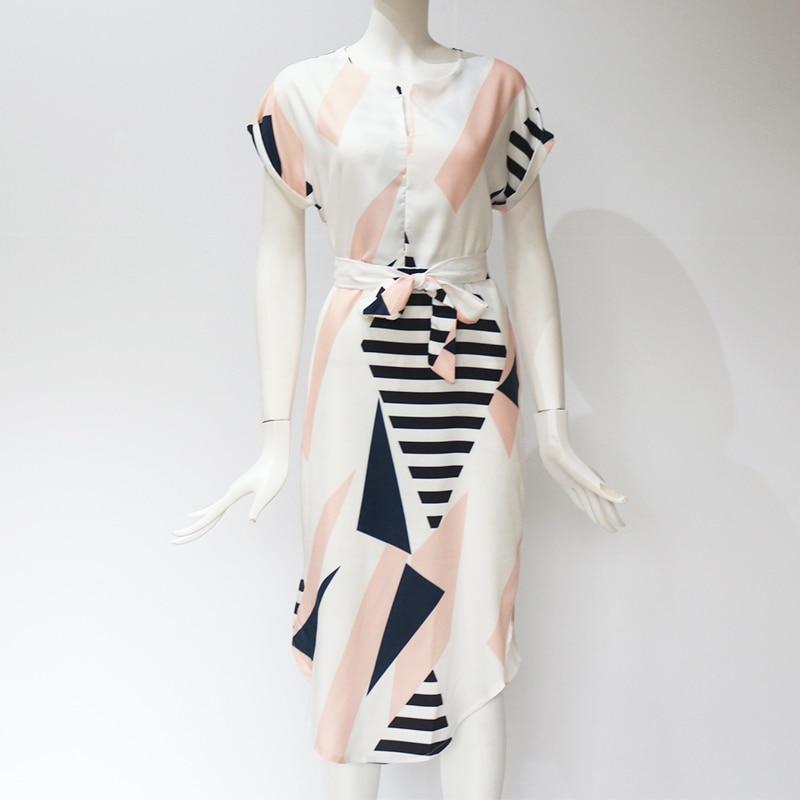 Midi Party Dresses Geometric Print Loose Batwing Sleeve Dress 55