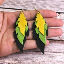 ZWPON Layered Soft Leather Leaf Earrings Colorful Feather Christmas Jewelry Wholesale