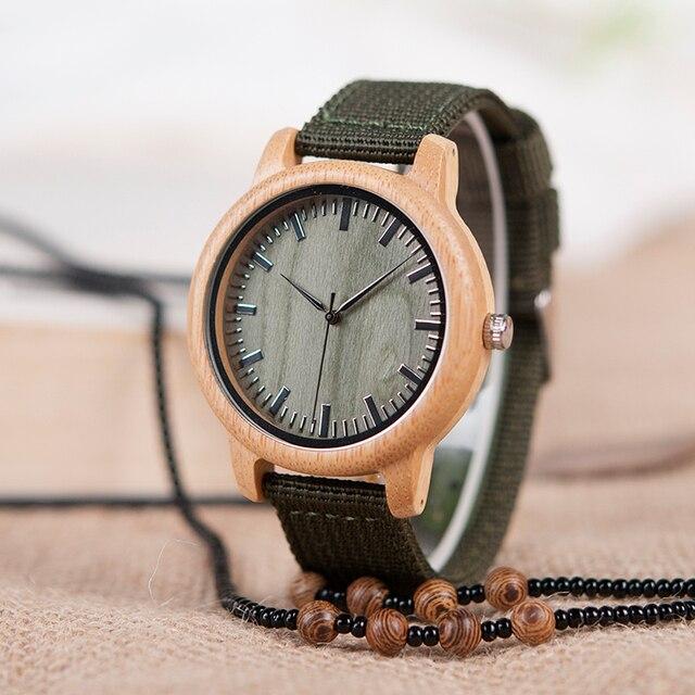BOBO BIRD D11 bambou bois montres pour femmes hommes marque Design vert Nylon sangles montre livraison directe dans la boîte 3