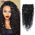 8A Grade Brazilian Virgin Hair Clip Ins Full Head Clip In Human Hair Extensions Premium Soft Deep Wave Natural Hair Extensions