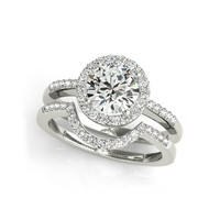 QYI diamond jewerly 925 Sterling Silver Women Engagement Ring Sets Halo Round Cut Wedding Anniversary Princess Ring Set