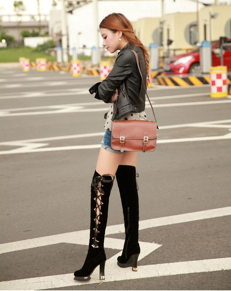46 2016 Trend New Autumn And Winter Knee-length Womens Boots Thick High-heeled Scrub Boot Classic Round Lace With Women Shoes