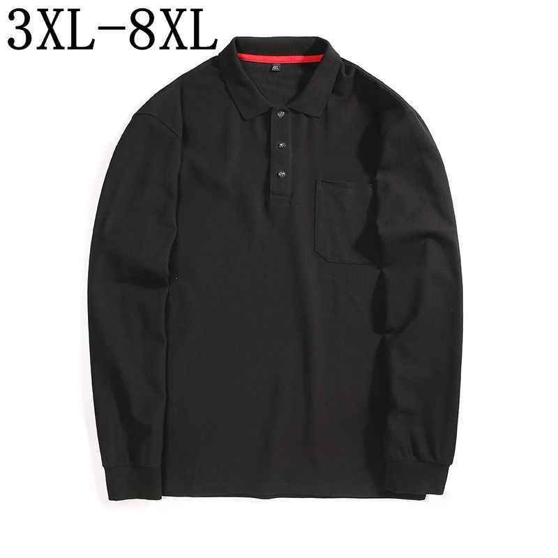 Size 5XL 6XL 7XL 8XL 2019 New Business Polo Shirt Men With Pocket Long Sleeve Camisas Polos Top Quality Male Casual Polo Shirts