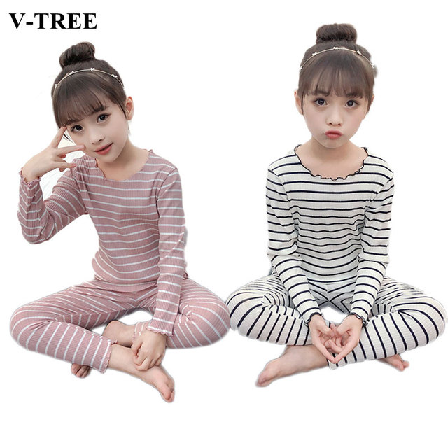 Autumn Winter Pajamas For Girls Stripe Kids Pajamas Sets Children Pyjamas  Cotton Kids Nightgown Warm Toddler 9b19b3ddd