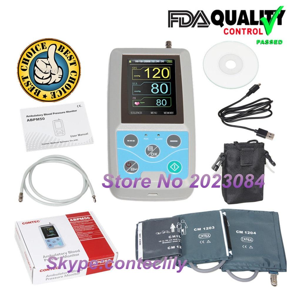 ABPM50 24 часа Амбулаторно крови Давление монитор, холтеровский ABPM холтеровское ВР монитор с программным обеспечением contec