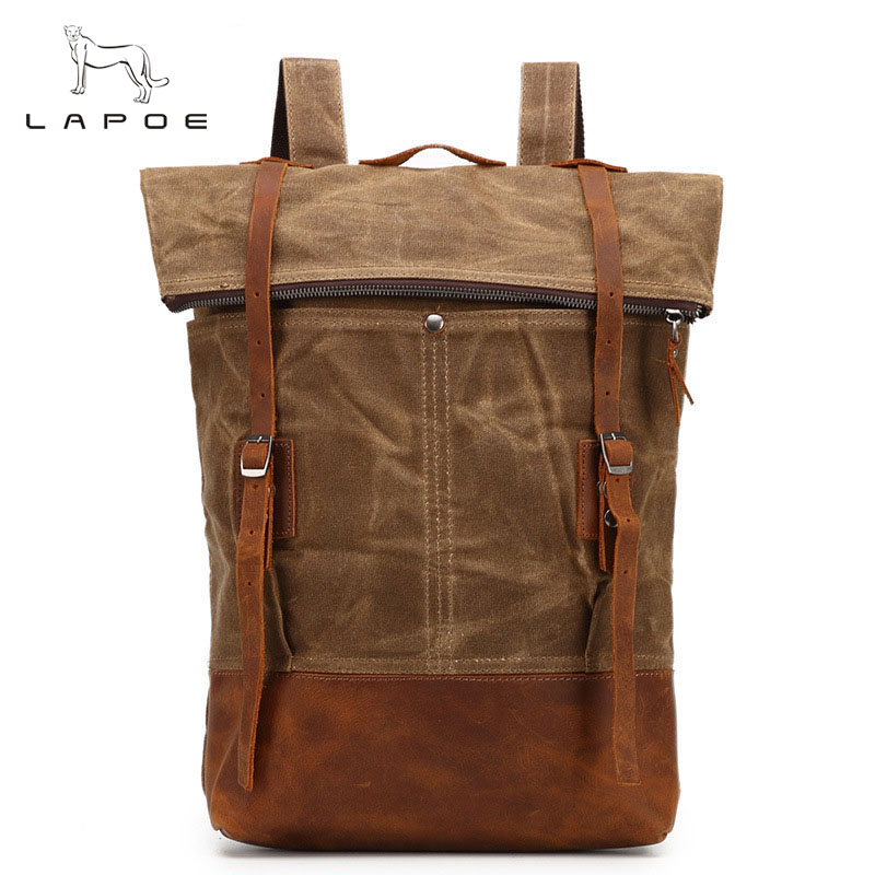 LAPOE 2018 New fashion men's backpack vintage canvas backpack school bag men's travel bags large capacity backpack best sellers canvas backpack classic fashion women s small fresh school bag travel bags large capacity travel backpack bag