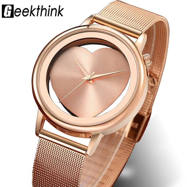 Relojes de mujer cuarzo hueco analógico de acero inoxidable malla banda oro  rosa de lujo marca 91de051a6f94