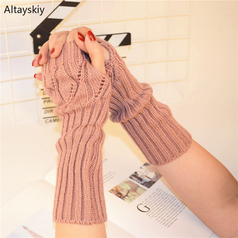 Arm Warmers Women Solid Knitting Hollow Out Half-fingered Finger-less Winter Warm Womens Arms Warmer All-match Trendy Kawaii New