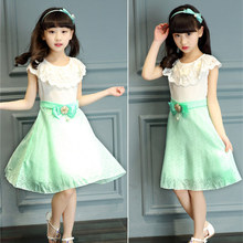 Girls Wedding Party Prom Dresses Quinceanera Robe Princess Pearl Flower Dress With Bow Teens Girl Summer Clothes 4 5 13 Year Old
