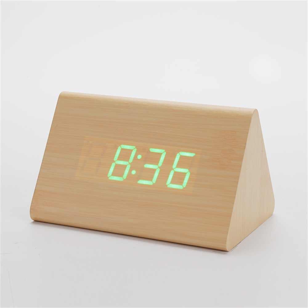 Творческий Деревянный Настольный будильник цифровые часы контроль звука Повтор деревянные светодиодные часы домашний Декор подарок на день рождения