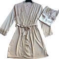 Luxo 2017 verão pijamas camisola + robe set moda laço de cetim pijamas de seda elegante vestido de casa sexy desgaste do sono menina