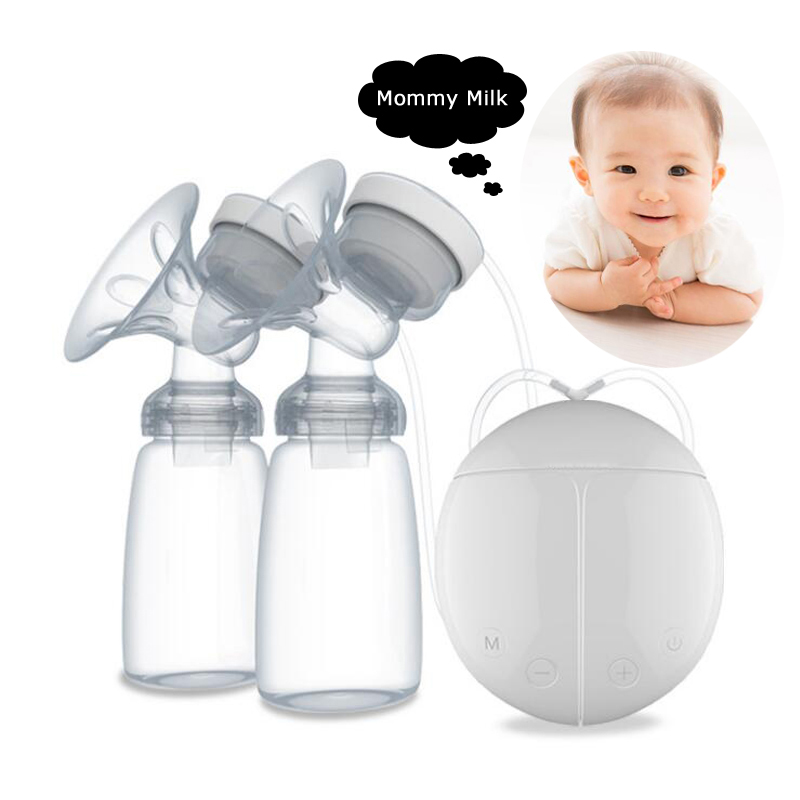 Comfortable Double Electric Breast Pumps BPA FREE Mother Intelligent Microcomputer Pump With Baby Feeding Bottle Nipple