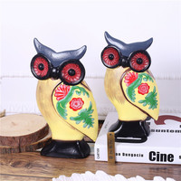 Classic Colored Drawing Wood Owl Figurines Book Cabinet Miniature Creativity Colored Animal Vintage Owl Style