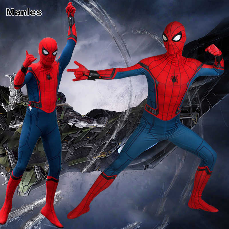 Traje Spiderman Costume Regresso A Casa Civil War Cosplay Fantasias de Carnaval Adulto Superhero Spider Man Macacão Roupas do Dia Das Bruxas