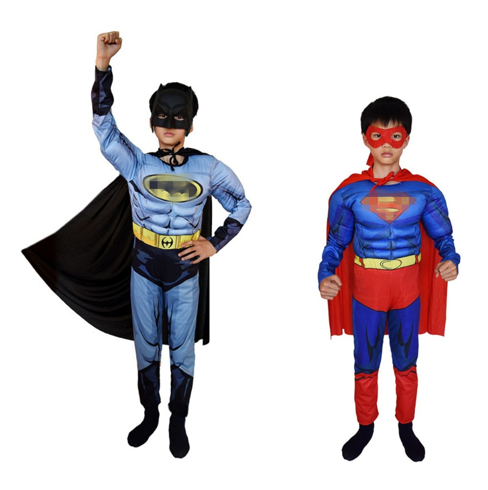 Superman Batman Movie Classic Muscle Child Halloween Costume For Kids Justice League Infantiles Superheroes Fancy Dress