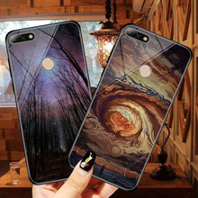 Starlight glass phone 5.7 inch case for huawei honor 7a pro cases painted protective back cover Huawei Y6 Prime 2018