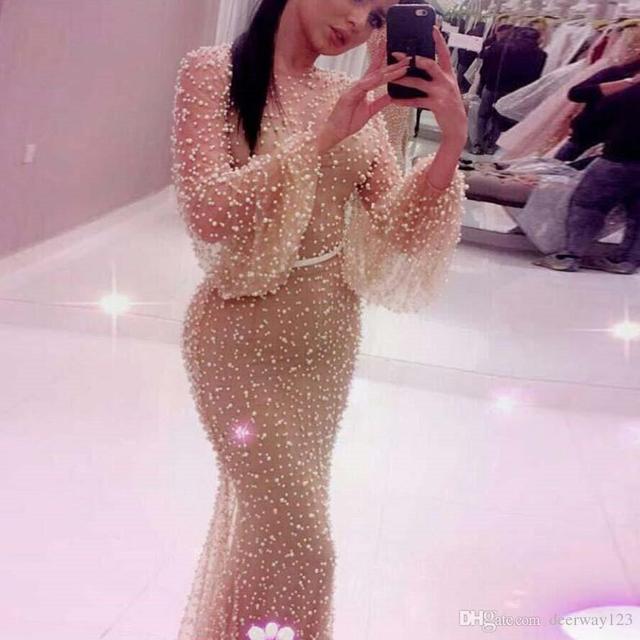 Luxury heavy pearls Prom Dress abiti da cerimonia da sera formal long sleeves high quality mermaid evening dresses 2019 2