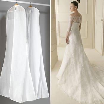 Bardzo duża suknia ślubna długie ubrania futerał ochronny suknia ślubna pokrywa pyłoszczelna obejmuje worek do przechowywania sukien ślubnych tanie i dobre opinie AIHOME Przybywali Plaid Nowoczesne Dustproof Cover Modern Non-woven fabric