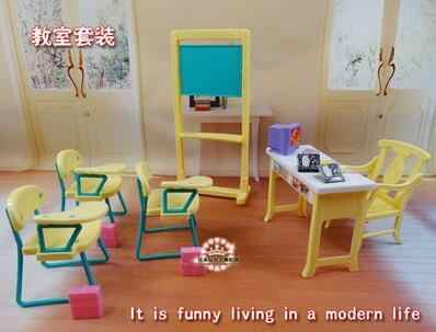 for barbie school Fashion Classroom Blackboard + Chair + Desk School Education Furniture Accessories For Barbie  Kelly Sister