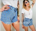 2016 New Fashion Studs Rivet Denim Shorts Women's Jeans Short Pants High-waist Blue Shorts CA12185
